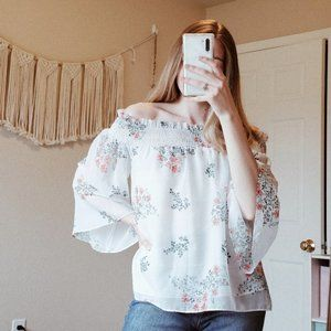 ENGLISH FACTORY Floral Off Shoulder Flowy Blouse M